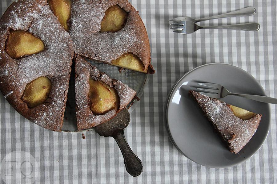 Chocoladetaart met peren