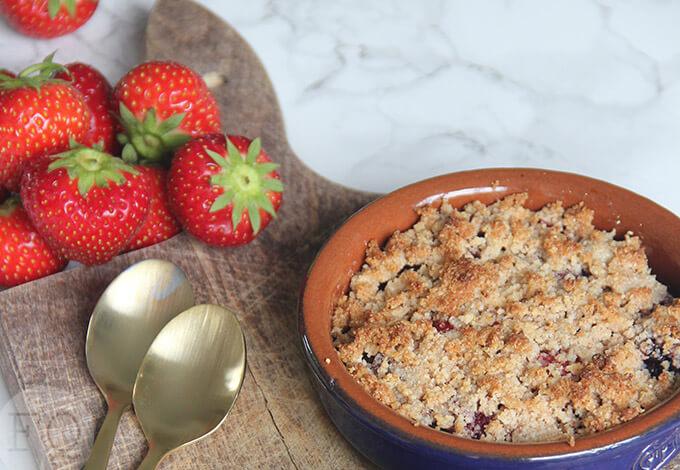 zomerfruit crumble glutenvrij