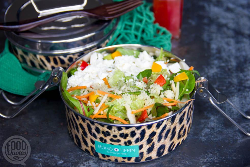 Salade met couscous feta en rauwkost